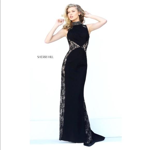 Sherri Hill Dresses | 50652 Black Lace Prom Dress | Poshmark